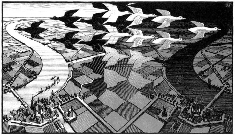 Escher_Day_and_Night_woodcut_1938